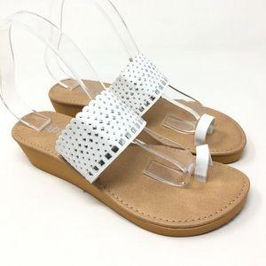 White Studded Wedge Summer Sandals